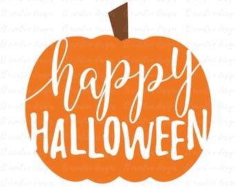 Happy Halloween SVG, Pumpkin SVG, Fall Pumpkin SVG, Halloween Svg, Fall Svg, Silhouette Cut Files, Cricut Cut Files