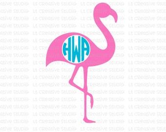 Flamingo SVG Flamingo Monogram SVG, Beach SVG, Summer Svg, Svg Files, Cricut, Silhouette Cut Files, Cutting Files