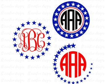 Star Monogram SVG, Fourth of July SVG, 4th of July Svg, Patriotic SVG, America Svg, Svg Files, Cricut Files, Silhouette Files