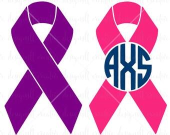 Cancer Ribbon SVG, Cancer Ribbon Monogram SVG, Cancer Survivor, SVG Files, Silhouette Files, Eps Files