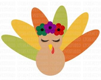 Turkey SVG, Thanksgiving Svg, Turkey Eyelashes SVG, Turkey Iron-on Printable, Svg Files, Cricut, Silhouette Cut Files