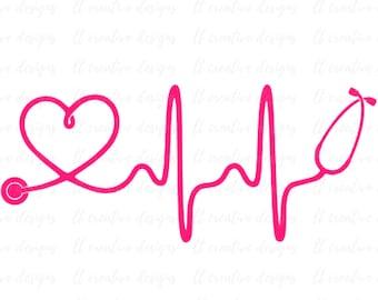 Heartbeat SVG, Nurse SVG, Doctor SVG, Healthcare Svg, Stethoscope Svg, Cricut Cut Files, Silhouette Cut File