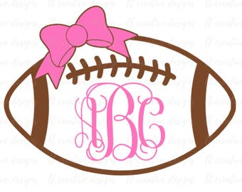 Football Monogram SVG With Bow, Football SVG, SVG Files, Sports Svg, Eps Files, Silhouette Files, Cricut Files