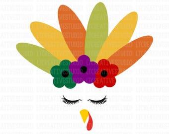 Turkey SVG, Turkey Face SVG, Thanksgiving Svg, Turkey Eyelashes SVG, Unicorn Head Svg, Svg Files, Cricut, Silhouette Cut Files