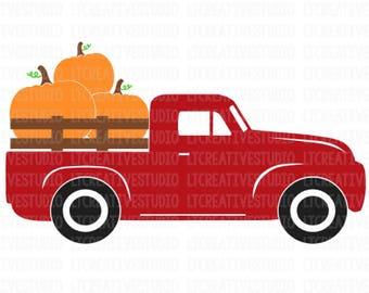 Pumpkin Truck SVG, Antique Truck SVG, Halloween SVG, Fall Svg, Harvest Truck Svg, Thanksgiving Svg, Silhouette Cut Files, Cricut Cut Files