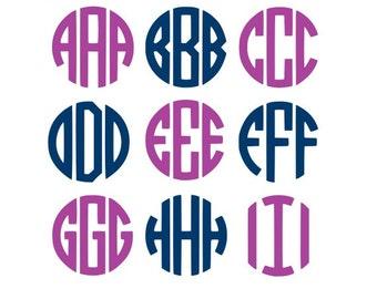 SALE! Circle Monogram Svg, Svg Files, Cricut Fonts, Monogram Fonts, Monogram Svg, Circle Monogram Font