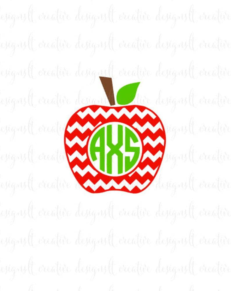 Chevron Apple Svg Chevron Apple Monogram Teacher Svg Etsy