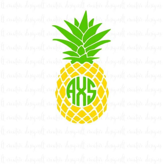 Pineapple Monogram Svg Pineapple Svg Pineapple Circle   Etsy