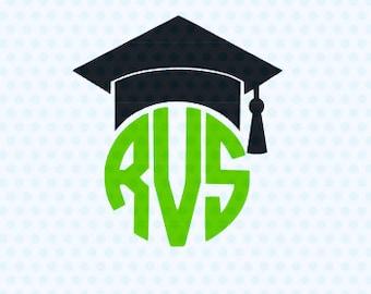 Graduation SVG, Graduation Cap SVG, Monogram Frame, Silhouette Files, Cricut SVG