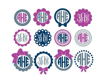 Circle Monogram Frame Svg, Monogram Frames Svg, Monogram Frame Svg, Circle Monogram Svg, Cricut Svg, Silhouette Svg, Svg Files