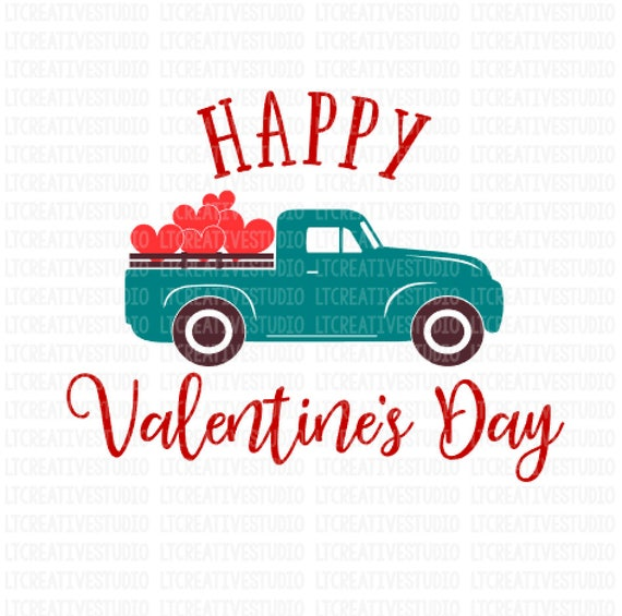 Valentines Day Truck Svg Truck With Hearts Svg Valentines Etsy