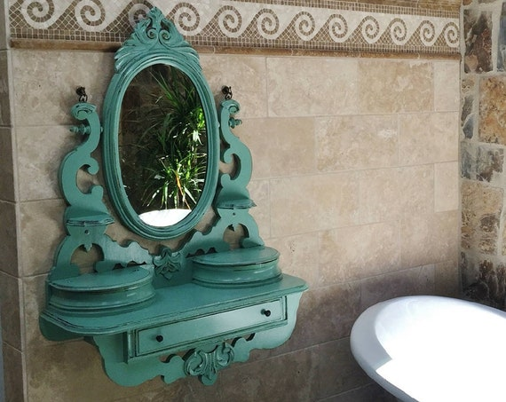 MAKEUP VANITY Made To Order - Repurposed Anitque Furniture And Mirror Painted Bedroom Bathroom Wall Mounted - Floating -BREATHTAKING!