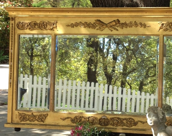 "WALL MIRROR - Federal Period Antique - Griffins & Scrolls - 46"" Long - Triple Beveled Mirrors - Breathtaking Over Mantle"