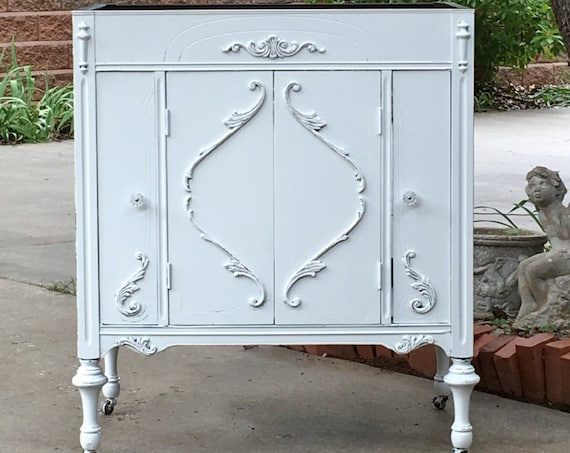 BATHROOM Vanity ANTIQUE Shabby Chic Bathroom Vanity Cabinet Converted From Antique Furniture 100% Custom Order
