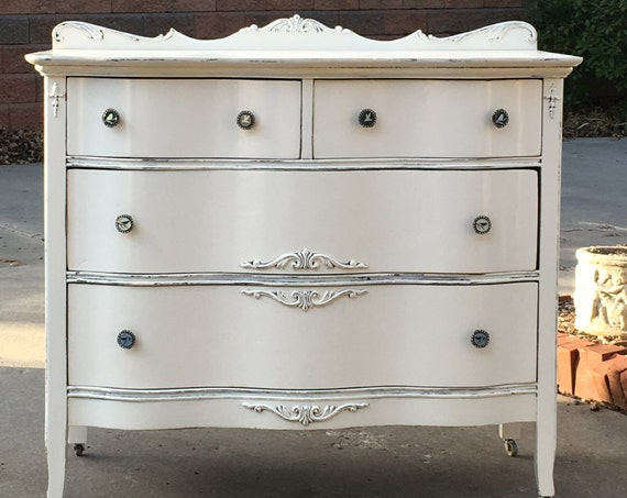 WHITE DRESSER Antique Dresser ~  Painted ~ The Shabby Chic Furniture ~ Baby Changing Table