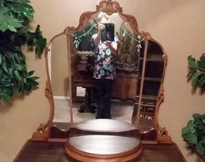 MAKEUP VANITY Princess Mirror This One Is In Stock Antique Dresser Ready To Be Painted Bedroom Bathroom or Dressing Closet