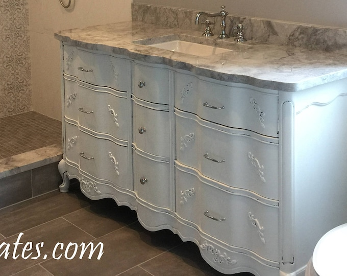 "BATHROOM VANITY Cabinet We Custom Convert from Vintage French Provincial Furniture For You - Remodel - Solid Wood - USA 50"" to 62"""