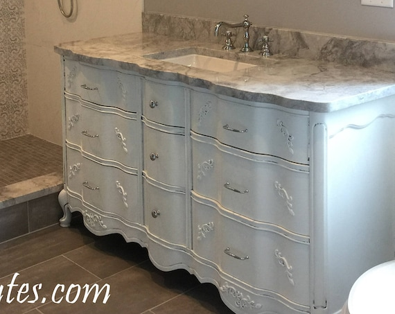 "BATHROOM VANITY Vintage Cabinet We Custom Convert from Vintage French Provincial Furniture For You - Remodel - Solid Wood - USA 50"" to 62"""