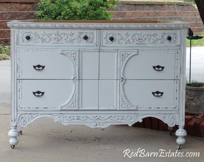 "BATHROOM VANITY Custom Converted From Antique Dresser Painted Dresser Shabby Chic Dresser 28"" to 48"" Wide"