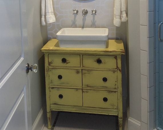 "Antique Dresser BATH VANITY CABINET We Custom Convert from Furniture For Your Victorian Farmhouse Renovation 14"" to 48"" Wide"