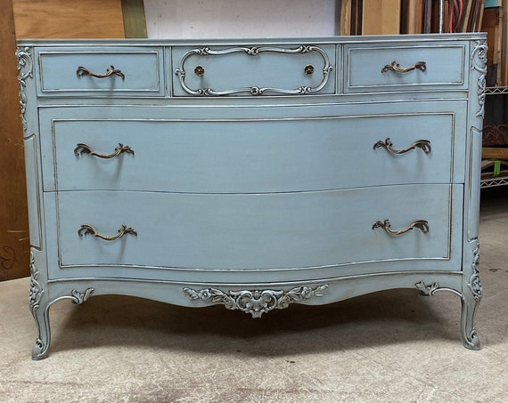 "BATHROOM VANITY ~ In STOCK Ready To Ship ~ Antique Dresser Converted Painted 48"" Wide French Style in French Blue"