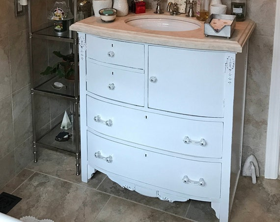 BATHROOM VANITY - Custom Order To Be Modified From Antique Dresser - Painted - Distressed - Restoration Remodel Bath Vanities