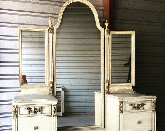 SLIGH MAKEUP VANITY Custom Refinish This Antique Dresser Shabby Chic Painted Distressed Restored Bedroom Furniture ~ Breathtaking!