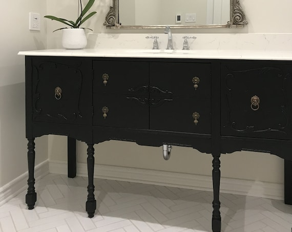 "ANTIQUE BATHROOM VANITY For Single or Double Sink We Custom Convert from Antique Furniture For You - Reno - Remodeling - 50"" to 62"" Wide"