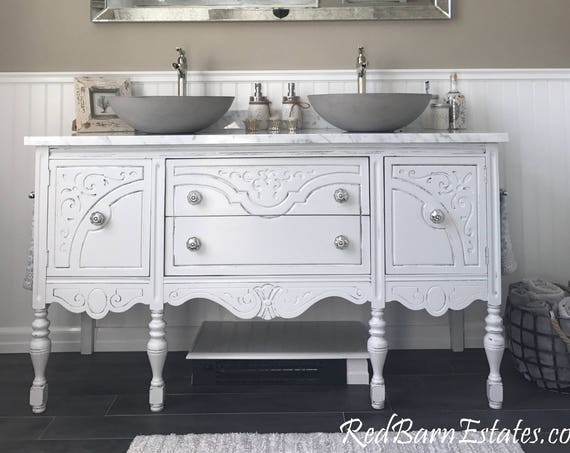 "ANTIQUE BATHROOM VANITY Double or Single We Custom Convert from Antique Furniture For You - Victorian Farmhouse Reno 50"" to 62"" Wide Long"
