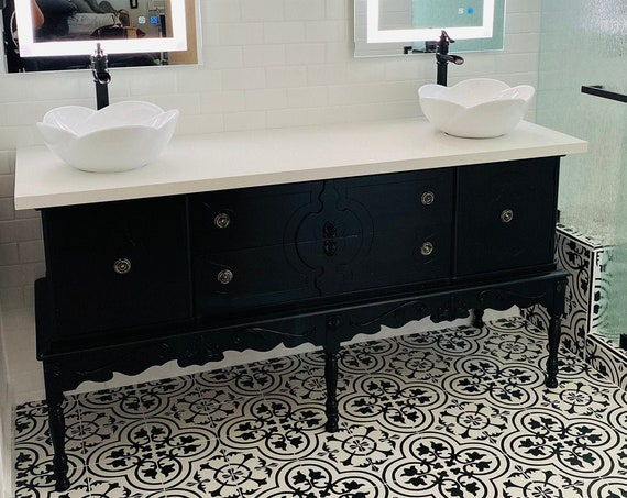 """BATHROOM VANITY Double or Single Sink We Custom Convert from Antique Furniture For You - Renovation - Remodeling - 67"""" to 72"""""""