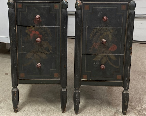 INSTOCK 2 ANTIQUE NIGHTSTANDS - Ready For Paint ~ Berkey Gay Mfg -  Bedroom Furniture - Bedside Tables - End Tables
