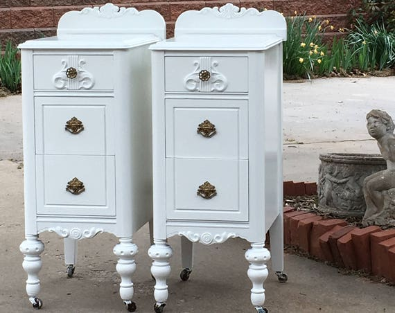 Painted Antique Nightstands - You Order. We Find, Restore, Adorn and Paint. Matching Pair Shabby Chic