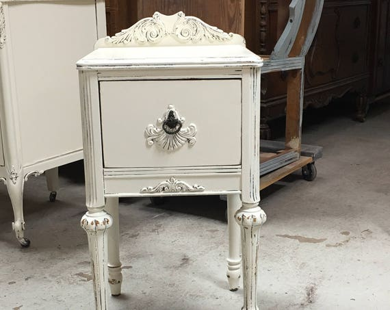 White Nightstand Antique Bedside Table Painted Shabby Chic French Country Farmhouse in stock ship in 7 days