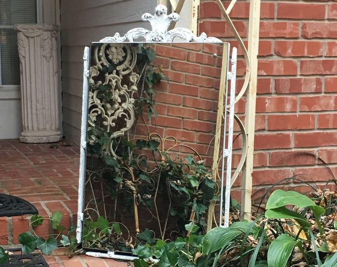 Antique MIRROR Shabby Chic White Painted Fleur-de-lis Crown Top ... Simply Gorgeous!