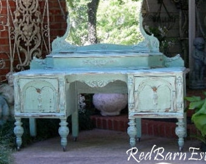 VANITY Custom Order An Antique Dresser Shabby Chic Painted Distressed Bedroom Furniture Mirrored Dressing Table BREATHTAKING!