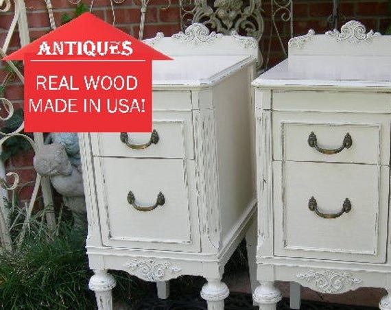 PAINTED ANTIQUE NIGHTSTANDS! Pair Of Nightstands Custom Sourced Restored and Painted To Order Shabby Chic Furniture