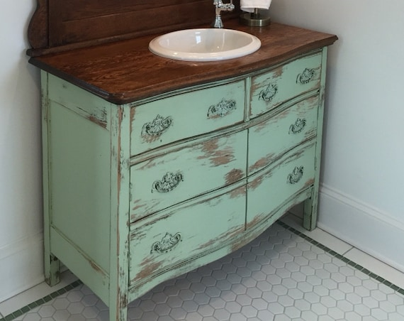 BATHROOM VANITY ANTIQUE Rustic From Antique Dresser! We Find, Restore, Convert, Paint and Distress - One Of A Kind! Country Furniture