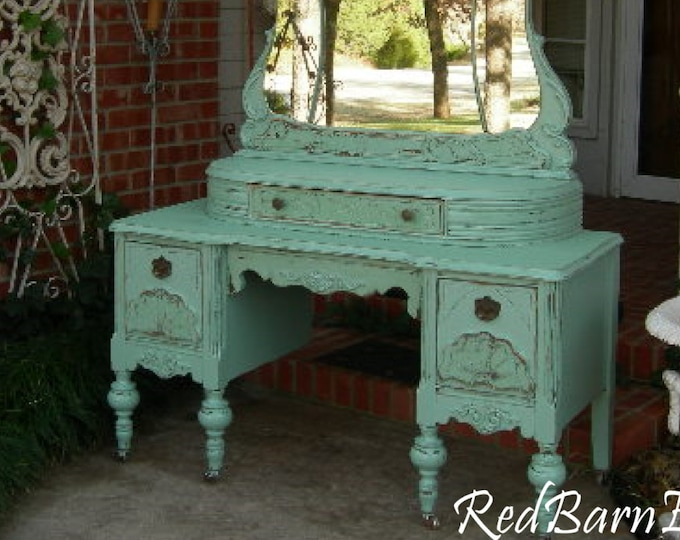 MAKEUP VANITY Custom Order An Antique Dresser Shabby Chic Painted Distressed Restored Bedroom Furniture BREATHTAKING!