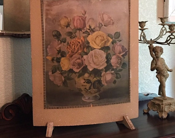 Rose Print Firescreen or Free Standing Art Gorgeous Faded and Chippy Shabby Chic Piece ~ Stand is the frame