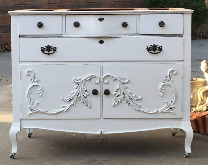 Bathroom Vanity Custom Converted TO ORDER From Antique Dresser Painted Bathroom Vanities Shabby Chic Farmhouse