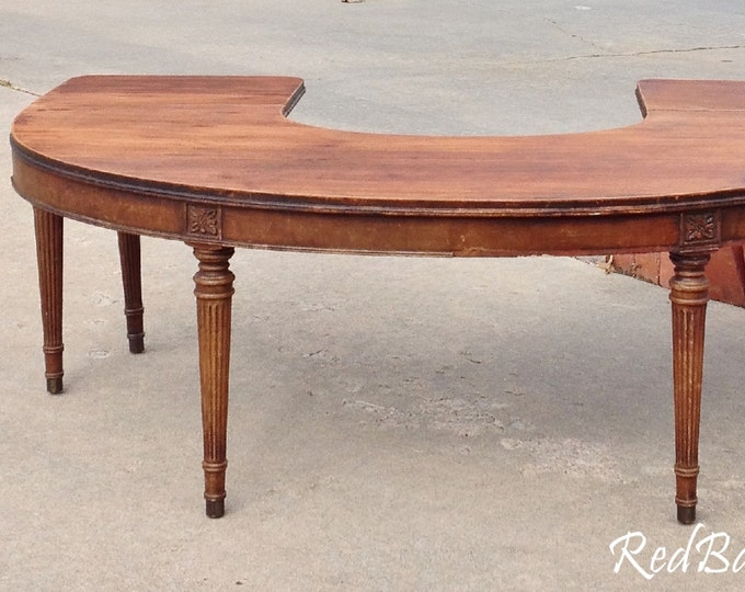 """COFFEE TABLE - Round - Half Circle - Drop Leaf Sides - Antique - 48"""" Wide - To Be Painted  - The Shabby Chic Furniture - Farmhouse"""