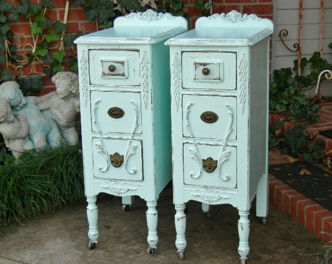 Pair Antique NIGHTSTANDS - Shabby Chic Painted Nightstands Bedside Tables Reclaimed Restored Old Wood - Custom Order