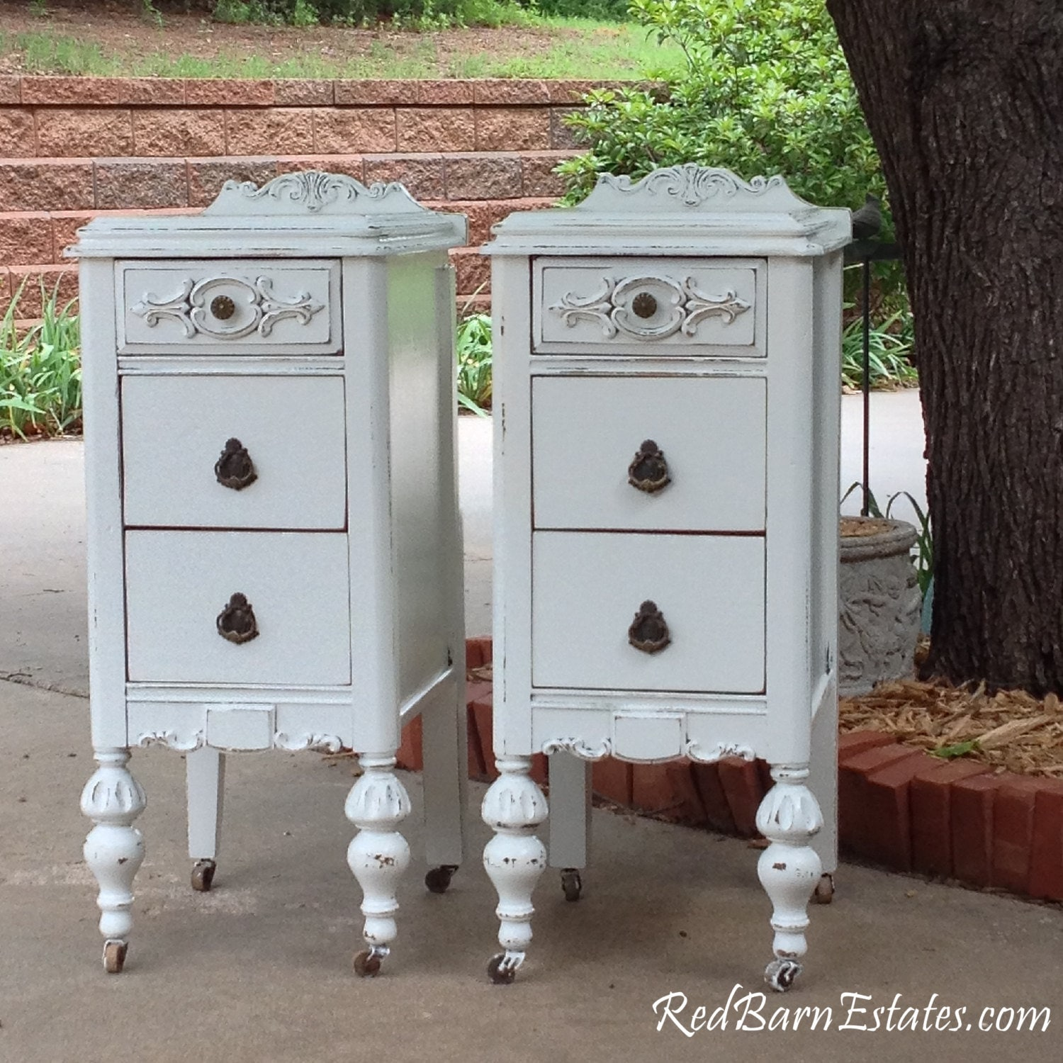 Pair Of White Nightstands Custom Order We Find Refinish And Paint Antique Bedside Tables Shabby Chic French Country Farmhouse