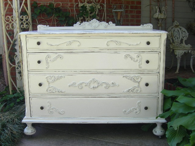 Beautiful White Dresser Shabby Chest Shabby Chic Furniture Painted Antique  Furniture Bedroom FOR CUSTOM ORDER - Beautiful White Dresser Shabby Chest Shabby Chic Furniture Painted