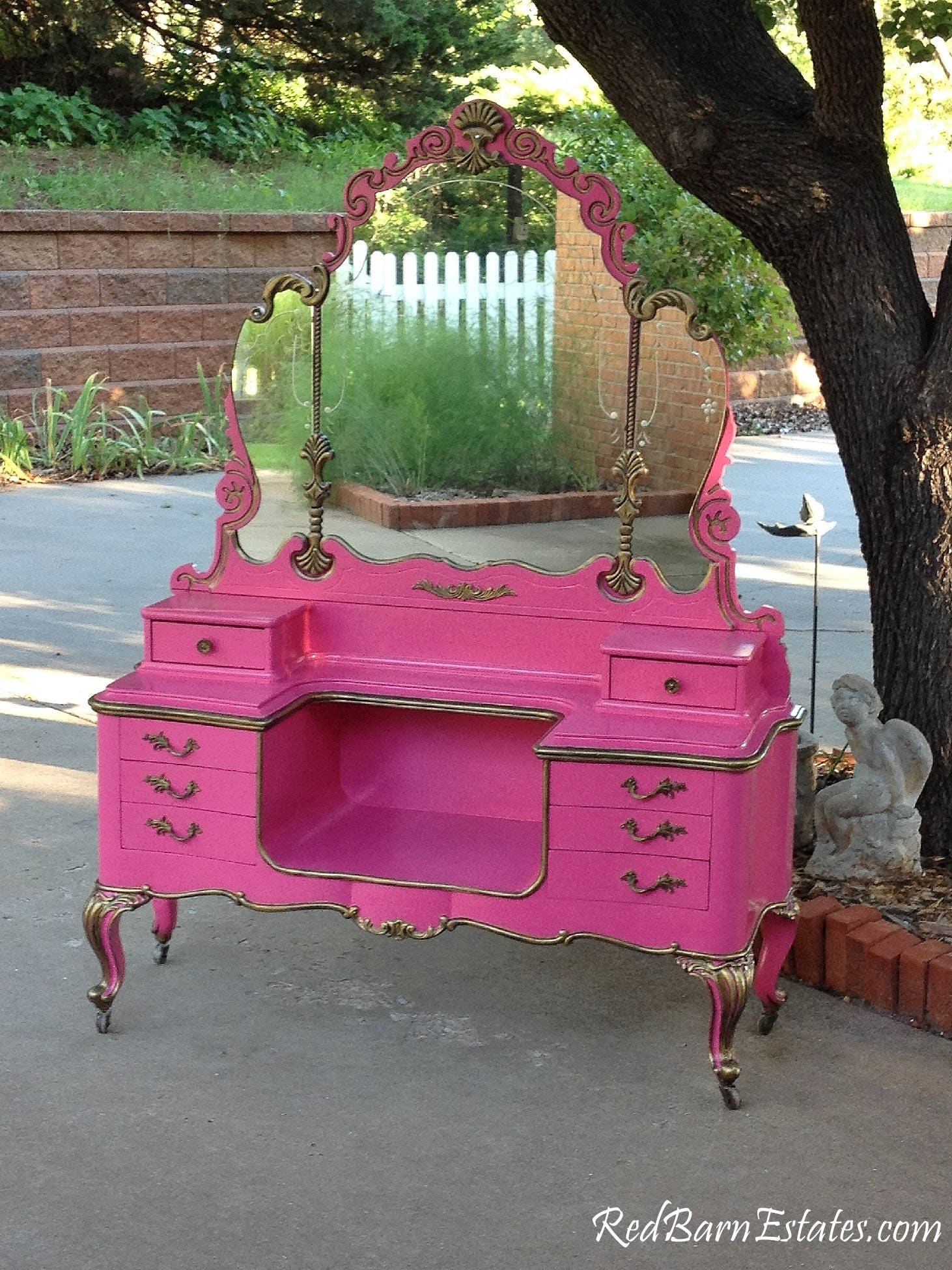 MAKEUP VANITY For Custom Order Shabby Chic Painted Distressed Restored Antique Furniture BREATHTAKING
