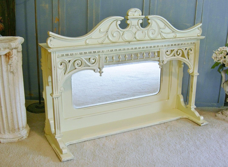Mantle Mirror Shelf Oak Shabby Chic Farmhouse