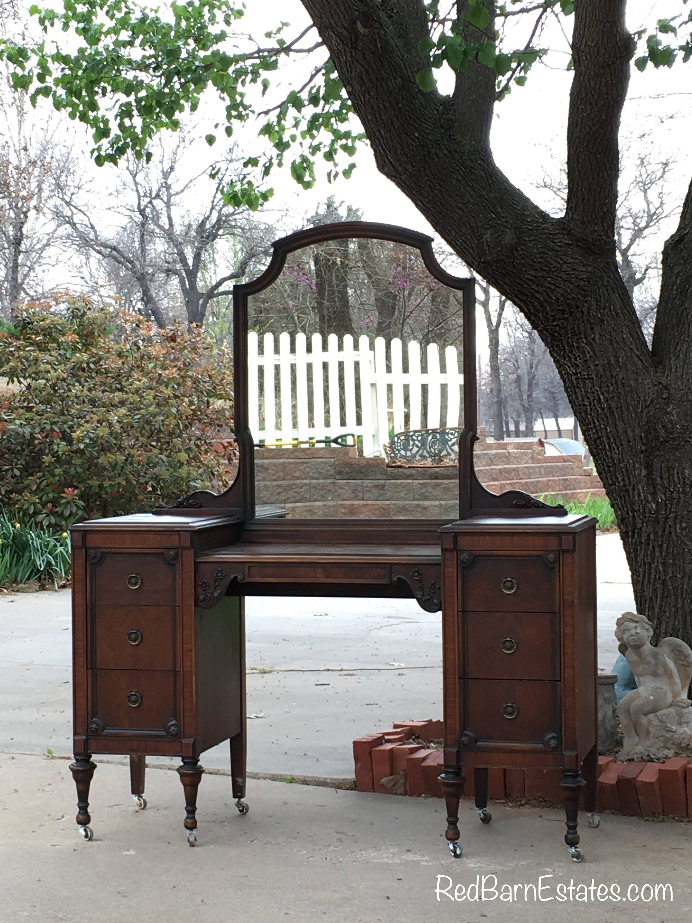 Antique Makeup Vanity 1920 S Sligh Brand In Stock Ready To Paint Shabby Chic Furniture 50 Wide Dresser With Mirror