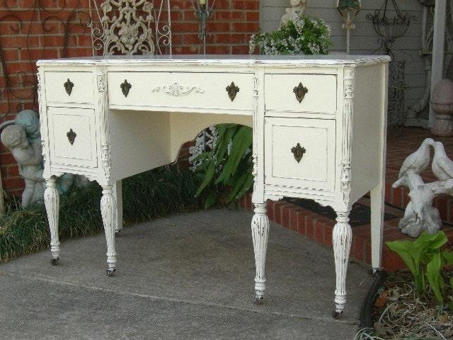 Shabby Chic Desk Shabby Chic Furniture Hand Painted Furniture Painted Desk  Antique Desk
