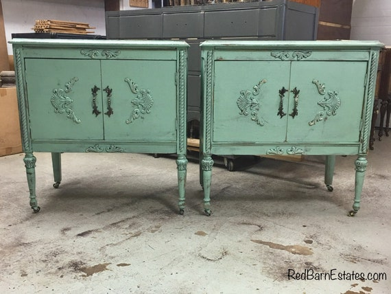 "2 MATCHING BATHROOM VANITY Vanities Custom Converted From Antique Buffets Painted Shabby Chic Dresser Up To 48"" Wide"