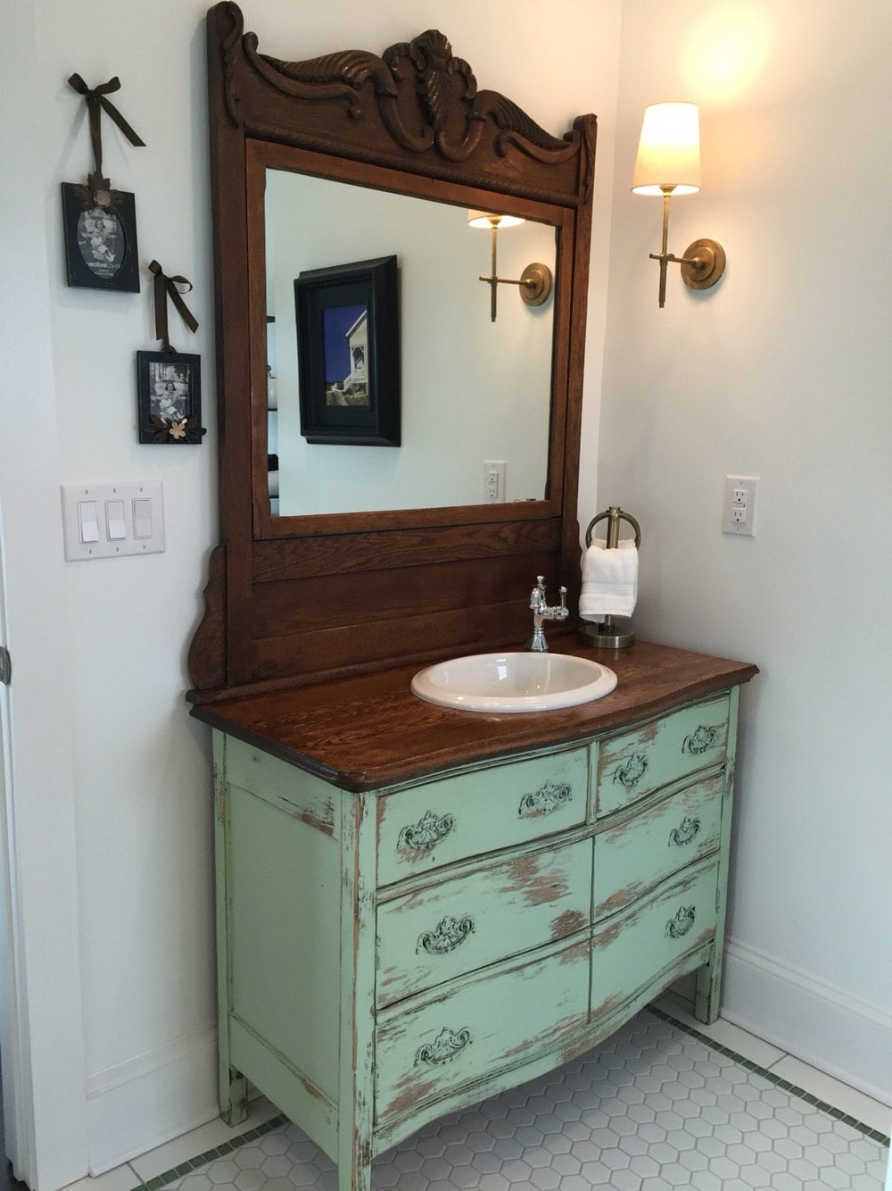 Bathroom vanity from antique dresser we find restore etsy - Type of paint for bathroom cabinets ...